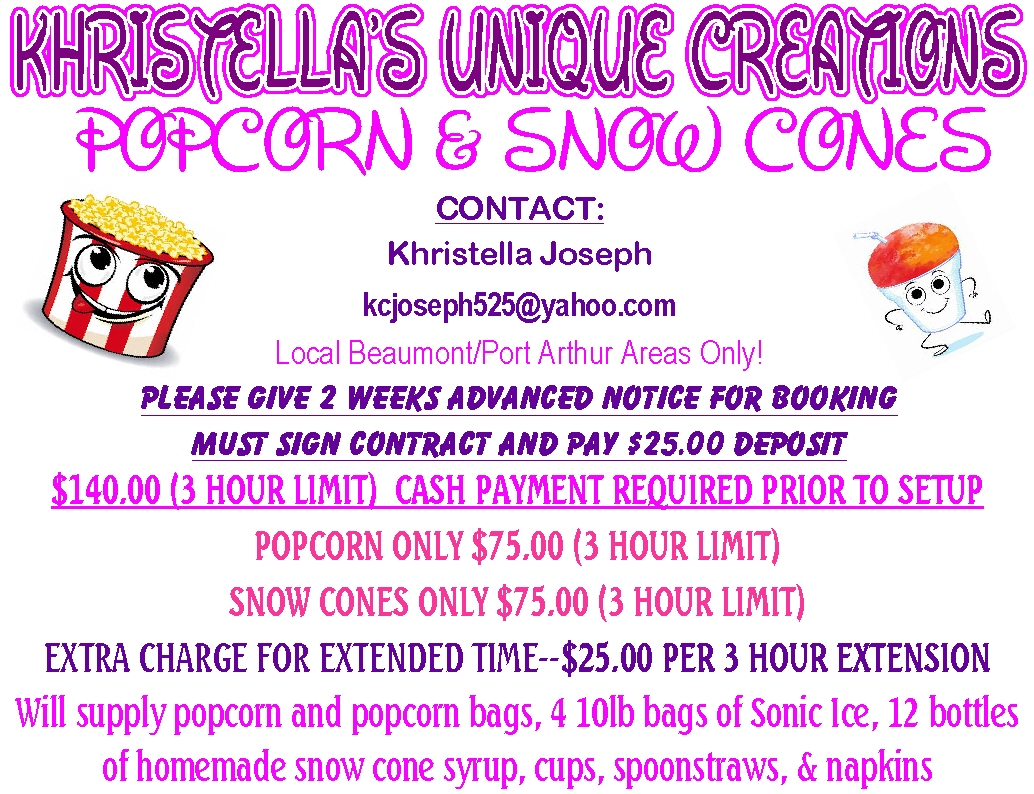 Popcorn And Snow Cones By Khristellas Unique Creations In Port