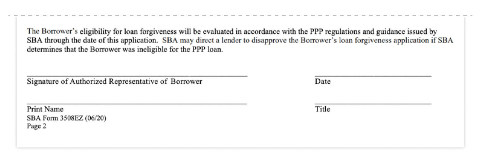 ppp loan forgiveness application form 3508ez signature
