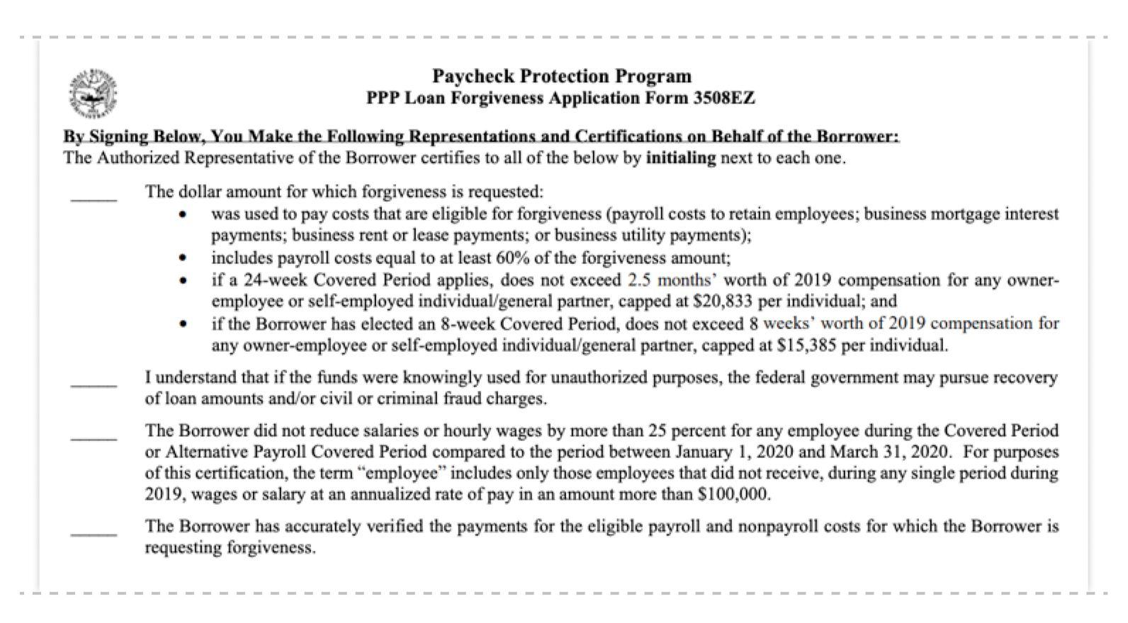 ppp loan forgiveness application form 3508ez authorize part 1
