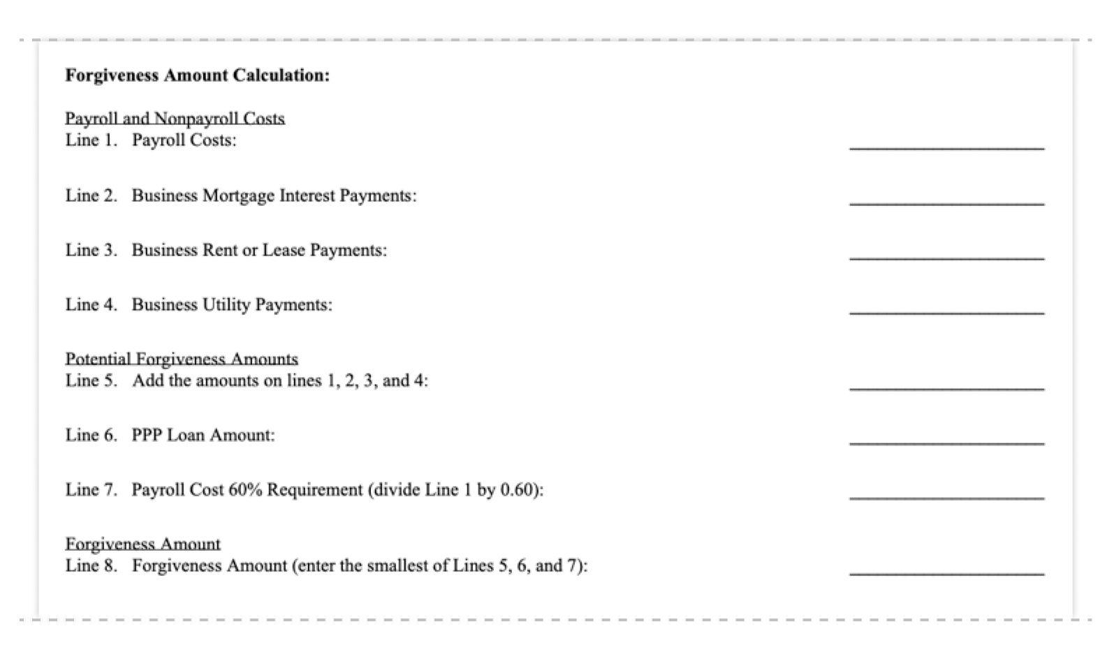 ppp loan forgiveness application form 3508EZ forgiveness amount