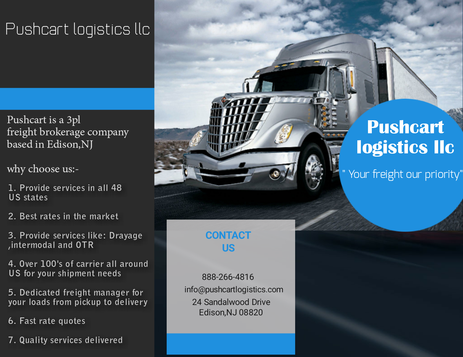 Trucking service in all 50 US states by Pushcart logistics
